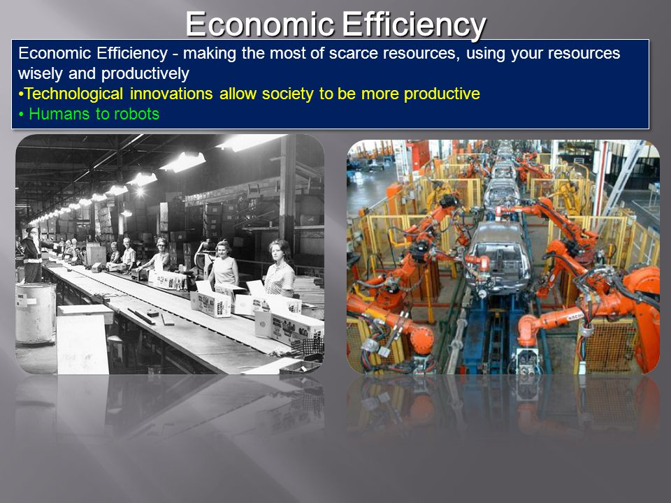 Economic Efficiency Economic Efficiency - making the most of scarce resources, using your resources wisely and productively.