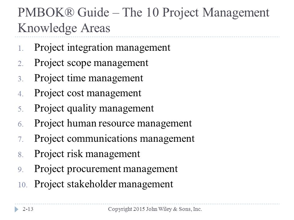 PMBOK® Guide – The 10 Project Management Knowledge Areas