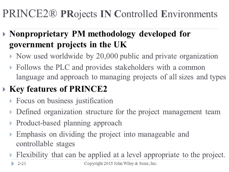 PRINCE2® PRojects IN Controlled Environments