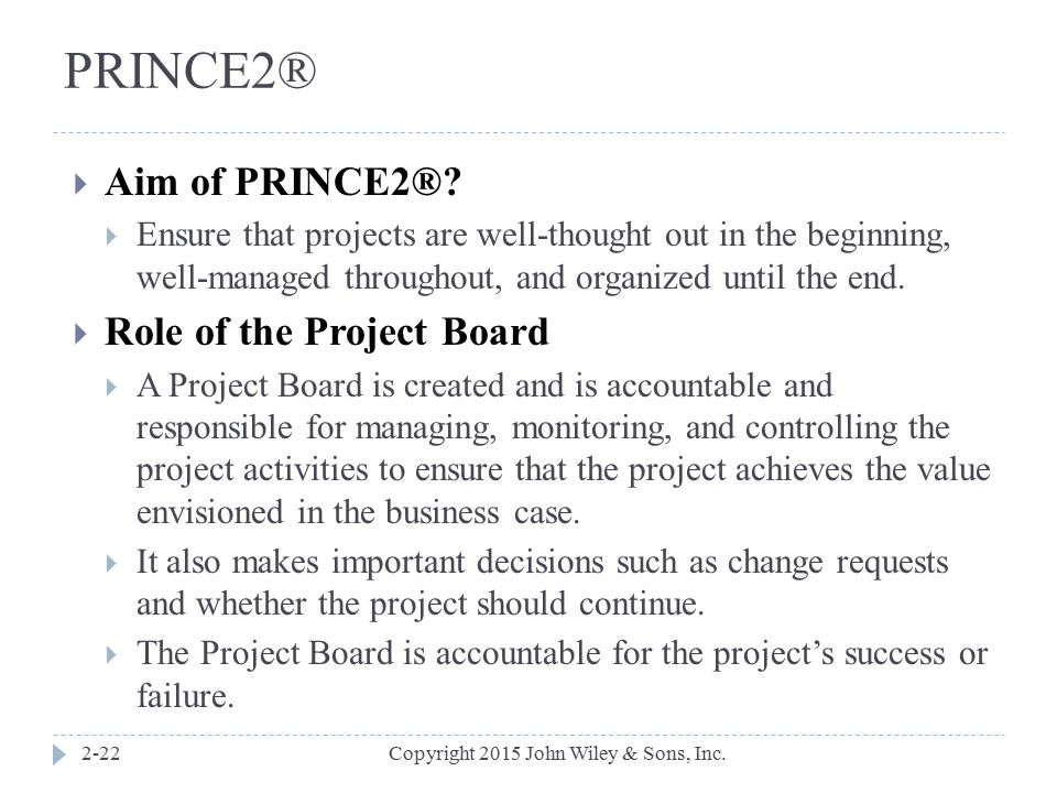 PRINCE2® Aim of PRINCE2® Role of the Project Board