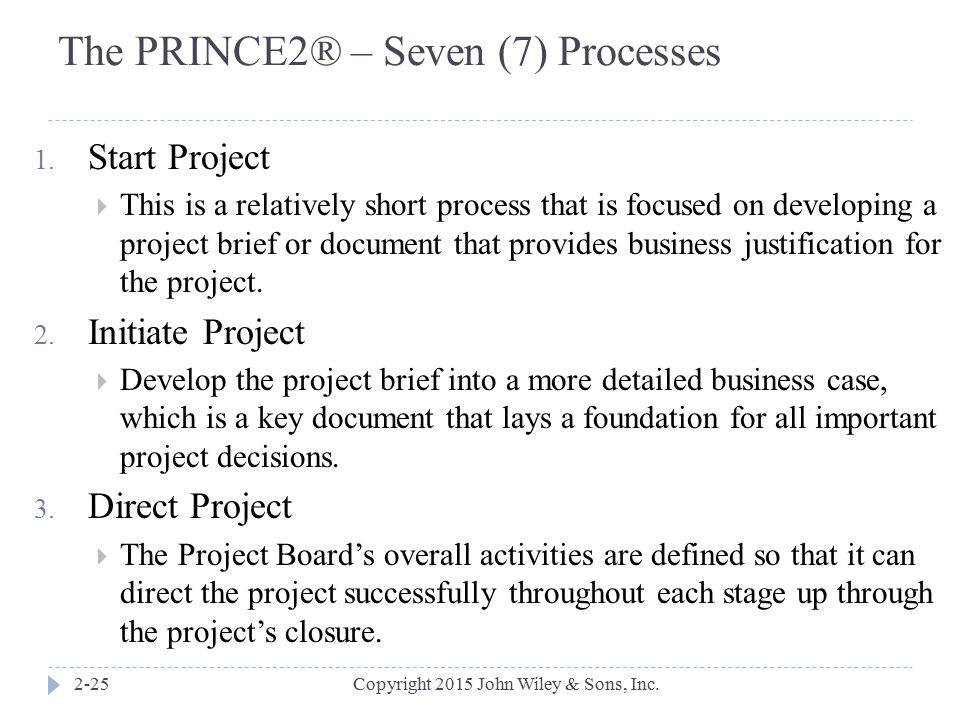 The PRINCE2® – Seven (7) Processes