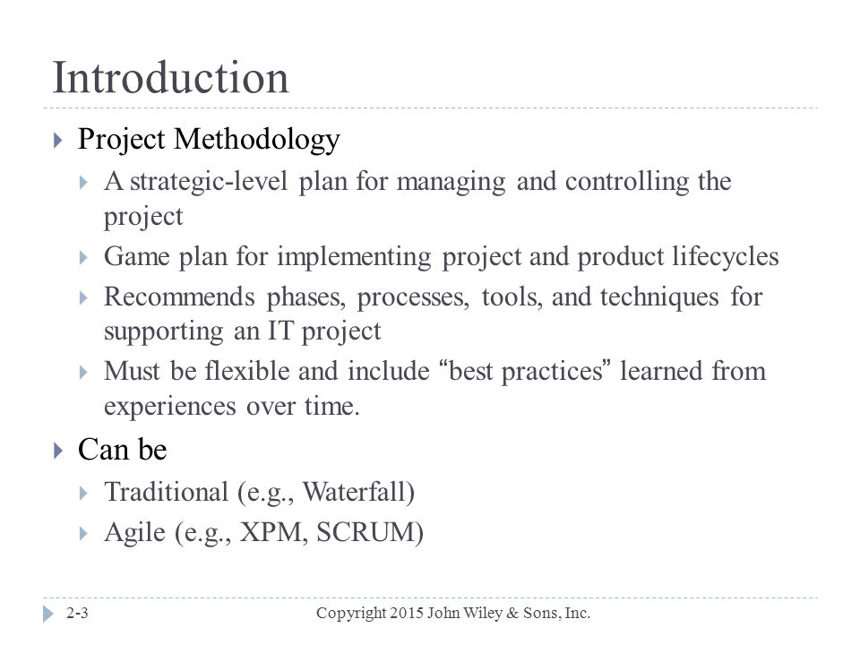 Introduction Can be Project Methodology