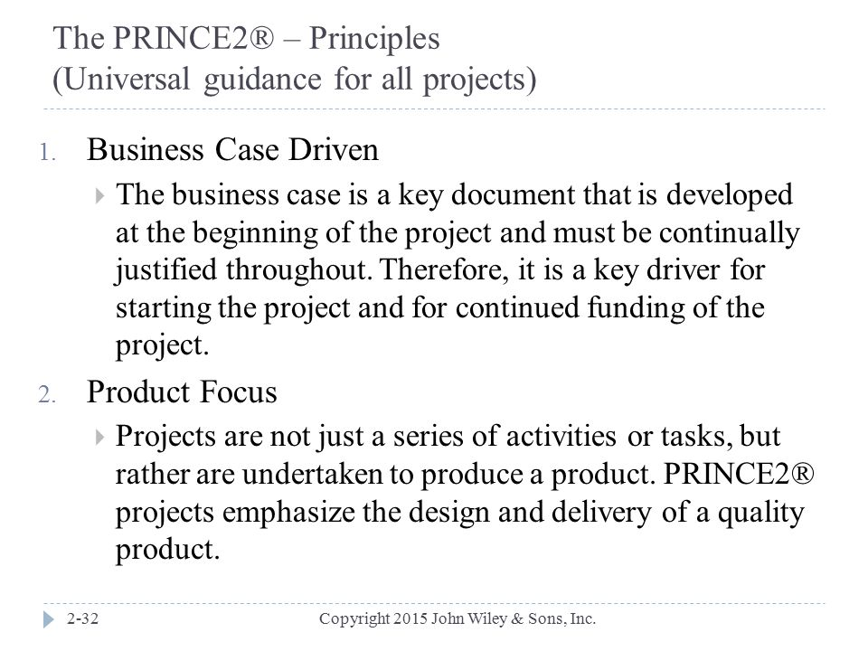 The PRINCE2® – Principles (Universal guidance for all projects)