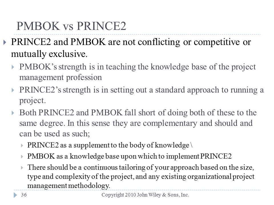 PMBOK vs PRINCE2 PRINCE2 and PMBOK are not conflicting or competitive or mutually exclusive.