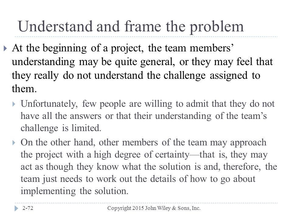 Understand and frame the problem
