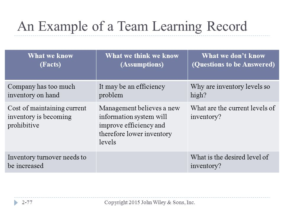 An Example of a Team Learning Record