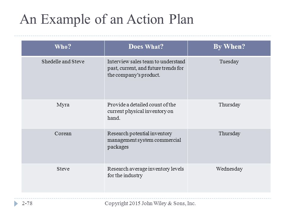 An Example of an Action Plan