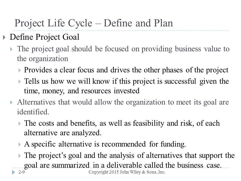 Project Life Cycle – Define and Plan