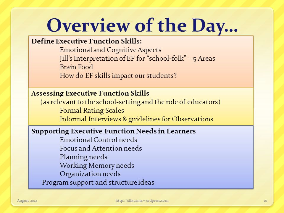 Overview of the Day… Define Executive Function Skills: