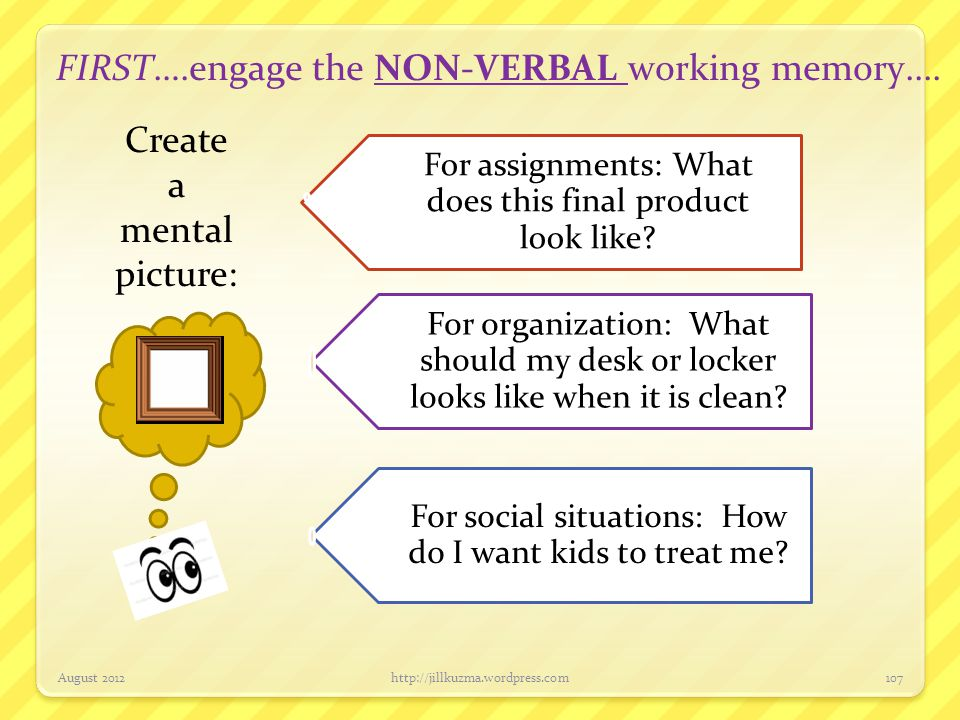 FIRST….engage the NON-VERBAL working memory....