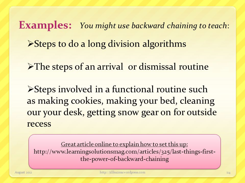 Examples: Steps to do a long division algorithms