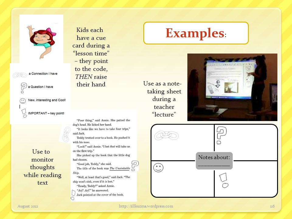 Examples: Kids each have a cue card during a lesson time – they point to the code, THEN raise their hand.