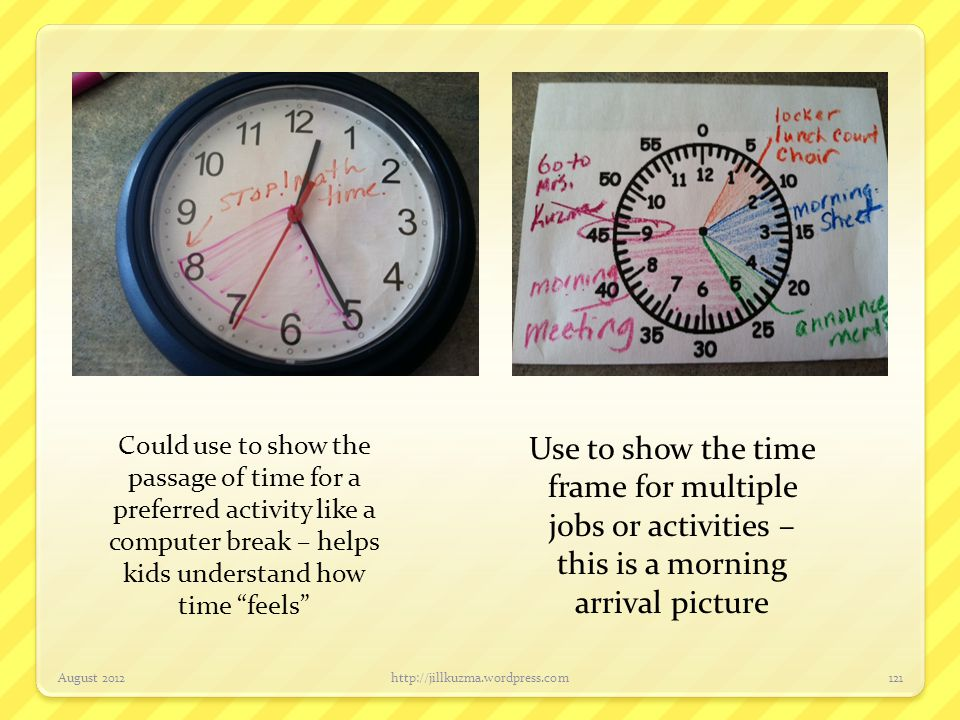 Could use to show the passage of time for a preferred activity like a computer break – helps kids understand how time feels