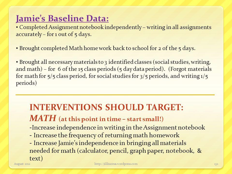 Jamie's Baseline Data: