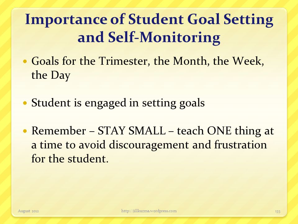 Importance of Student Goal Setting and Self-Monitoring