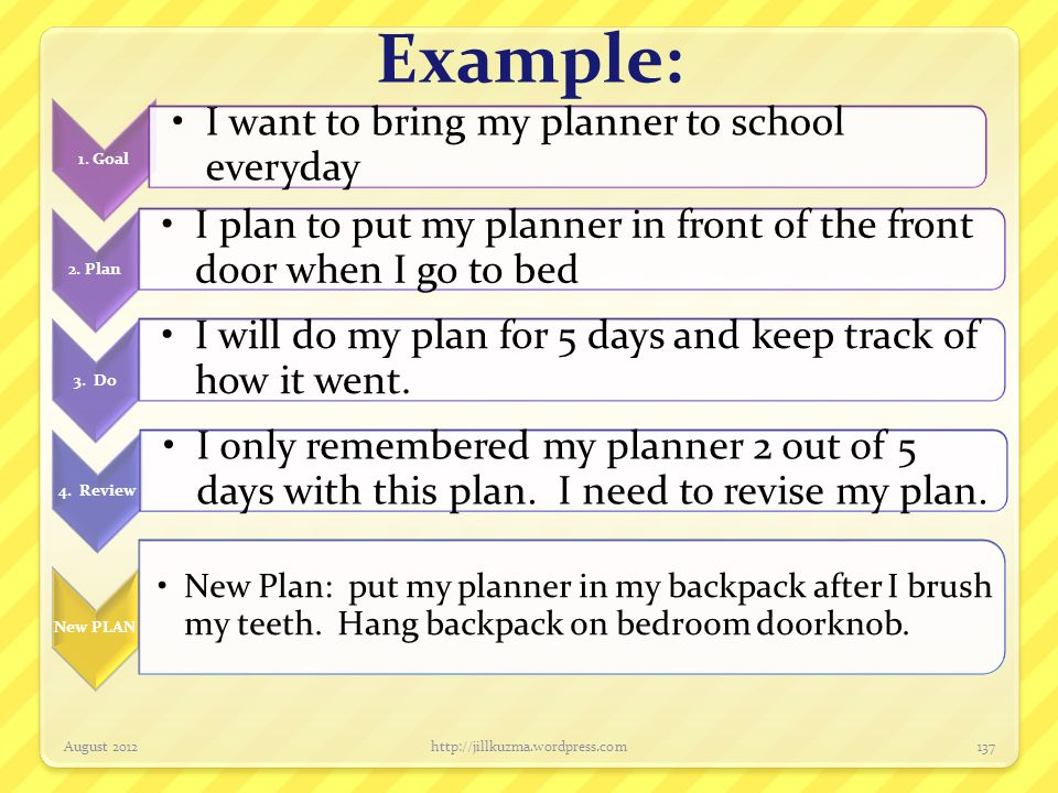 Example: 1. Goal. I want to bring my planner to school everyday. 2. Plan. I plan to put my planner in front of the front door when I go to bed.