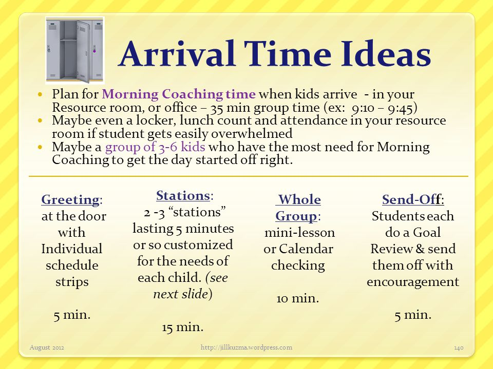 Arrival Time Ideas Plan for Morning Coaching time when kids arrive - in your Resource room, or office – 35 min group time (ex: 9:10 – 9:45)