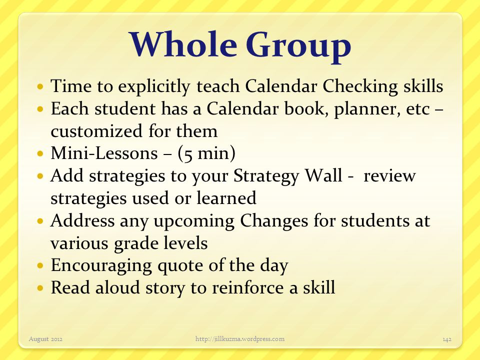 Whole Group Time to explicitly teach Calendar Checking skills
