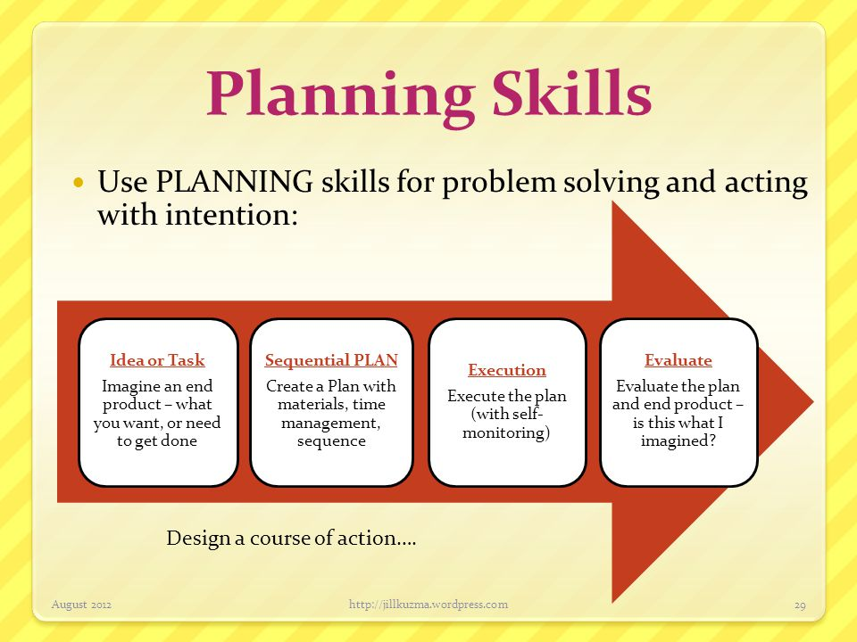 Planning Skills Use PLANNING skills for problem solving and acting with intention: Imagine an end product – what you want, or need to get done.