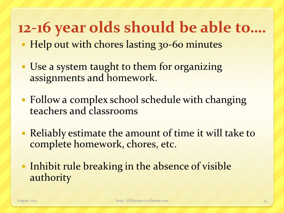 12-16 year olds should be able to….