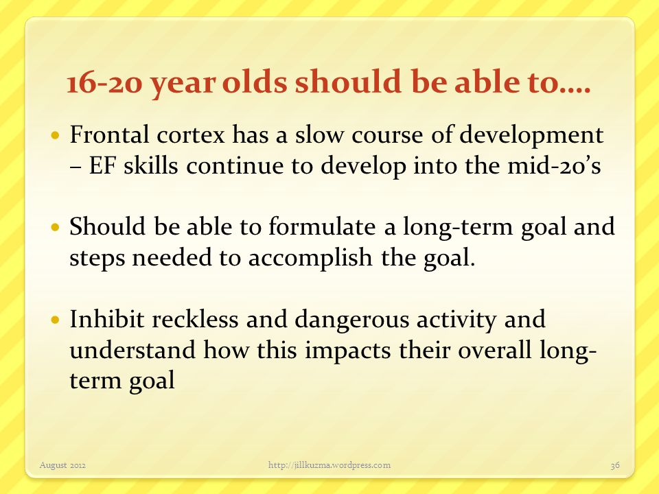 16-20 year olds should be able to….