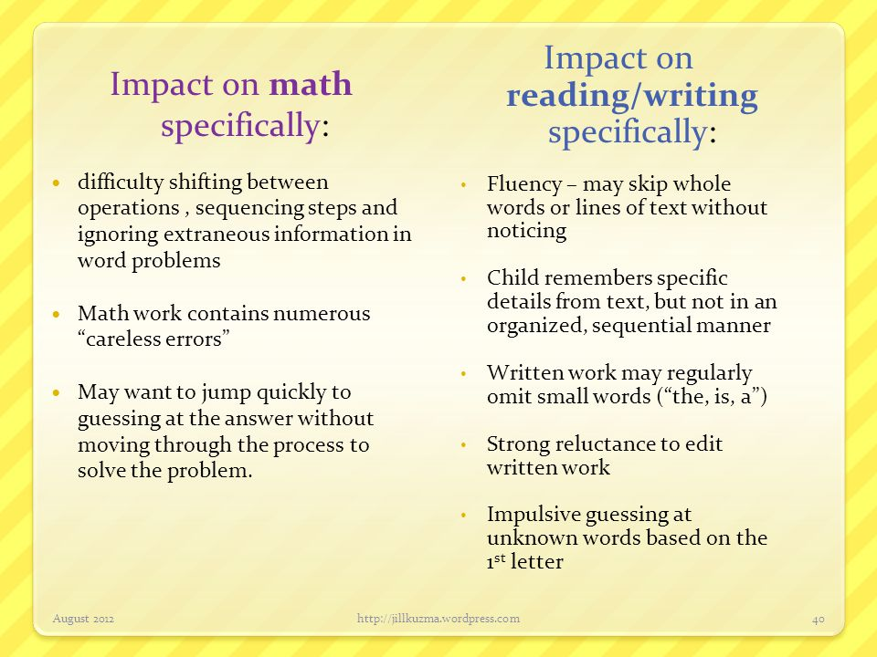 Impact on reading/writing specifically: Impact on math specifically: