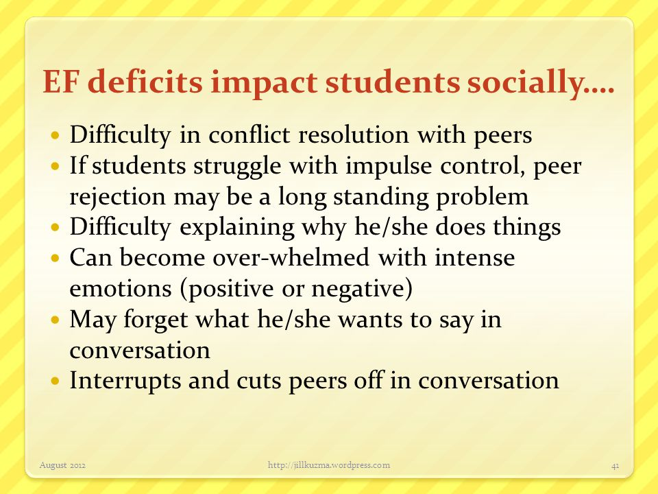 EF deficits impact students socially….