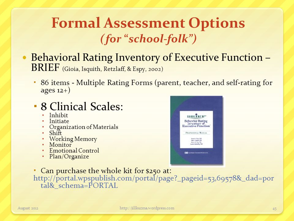 Formal Assessment Options (for school-folk )