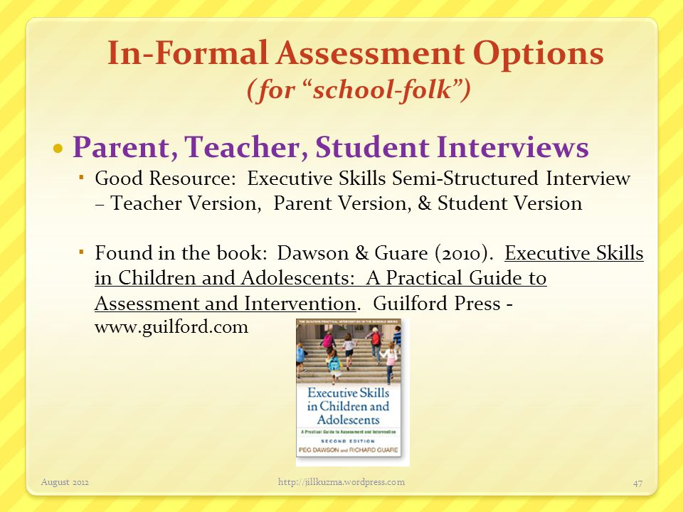 In-Formal Assessment Options (for school-folk )