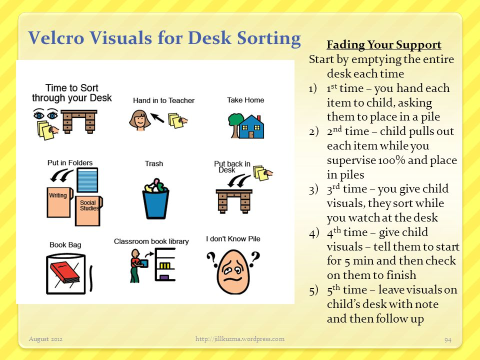 Velcro Visuals for Desk Sorting