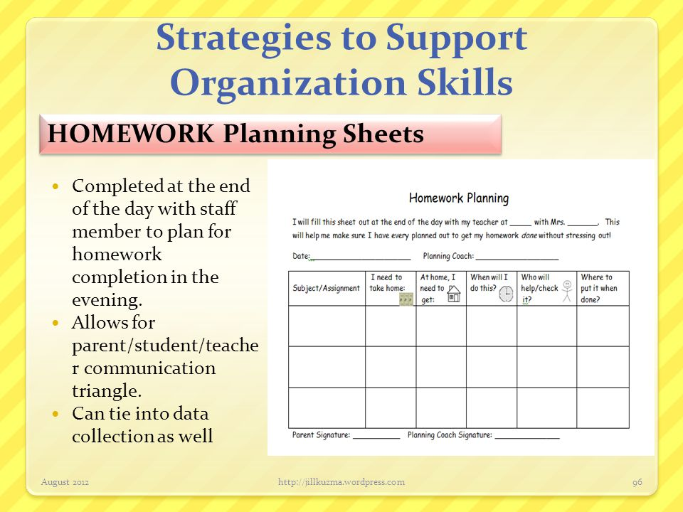 Strategies to Support Organization Skills