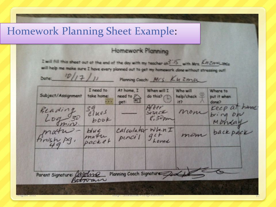 Homework Planning Sheet Example: