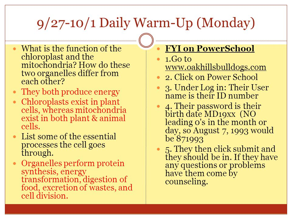 9/27-10/1 Daily Warm-Up (Monday)