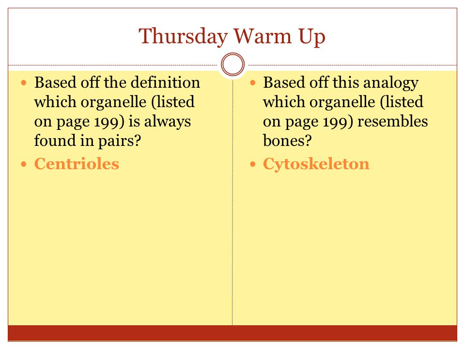 Thursday Warm Up Based off the definition which organelle (listed on page 199) is always found in pairs