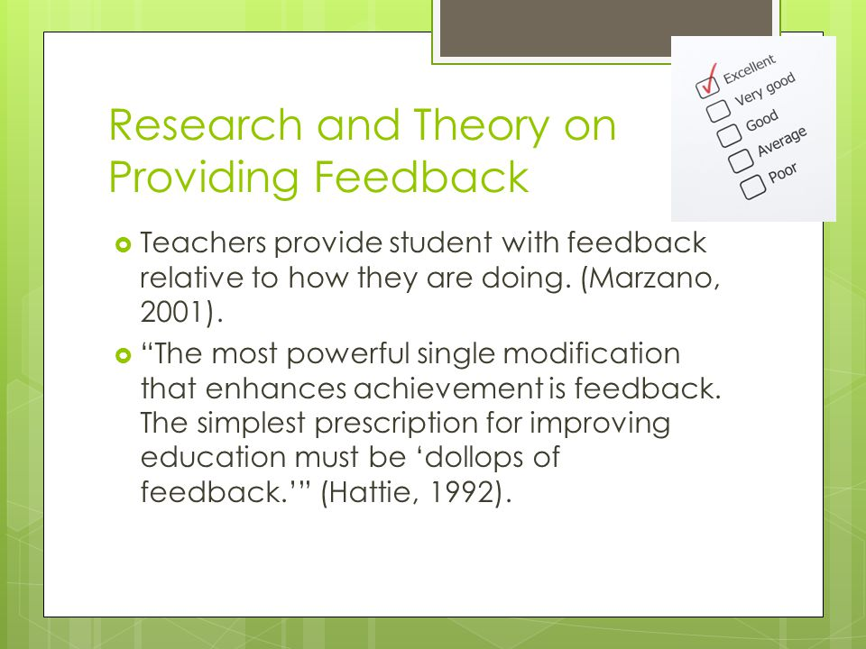 Research and Theory on Providing Feedback