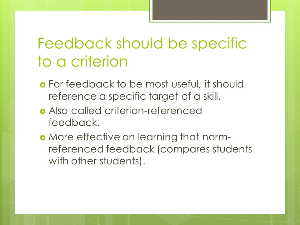 Feedback should be specific to a criterion