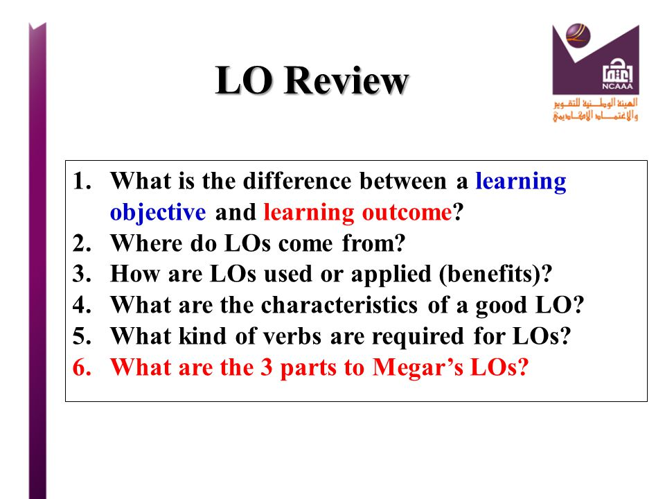 LO Review What is the difference between a learning objective and learning outcome Where do LOs come from