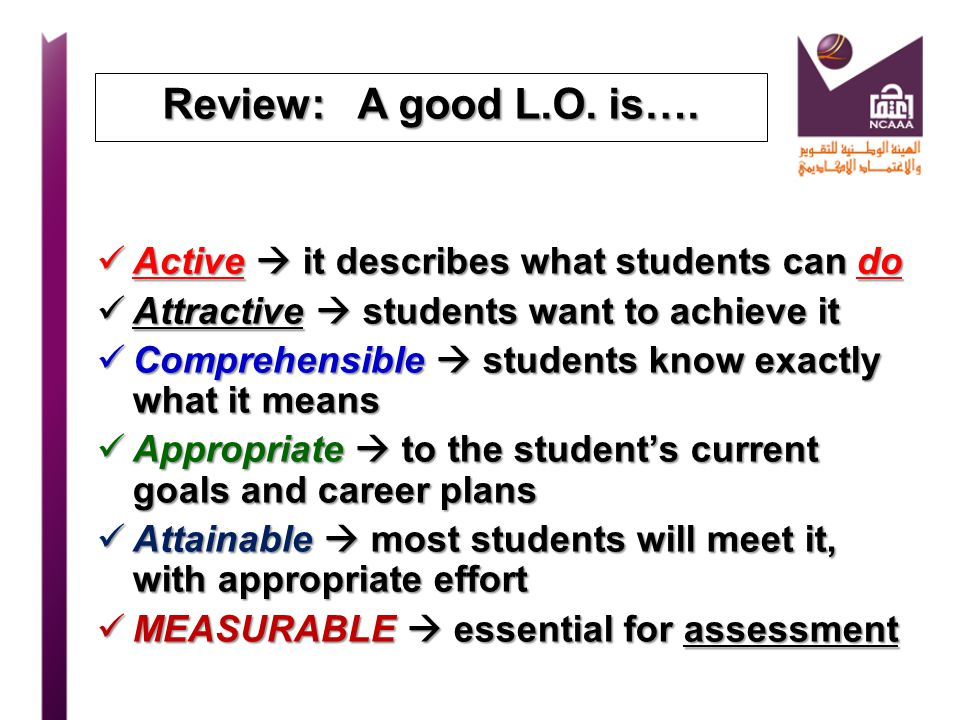 Review: A good L.O. is…. Active  it describes what students can do