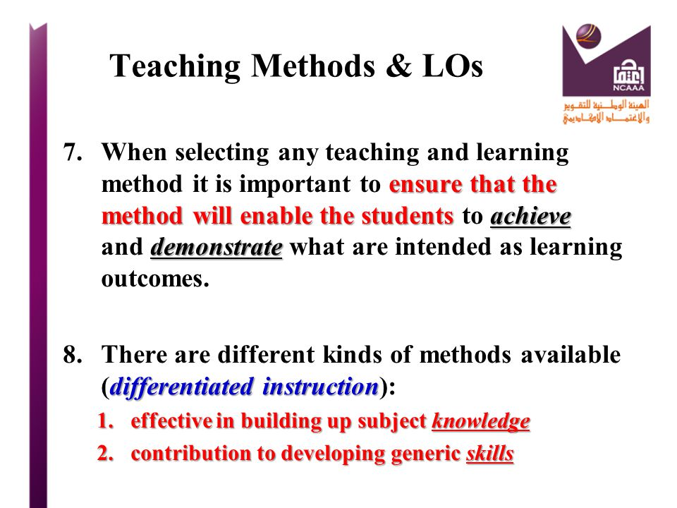 Teaching Methods & LOs