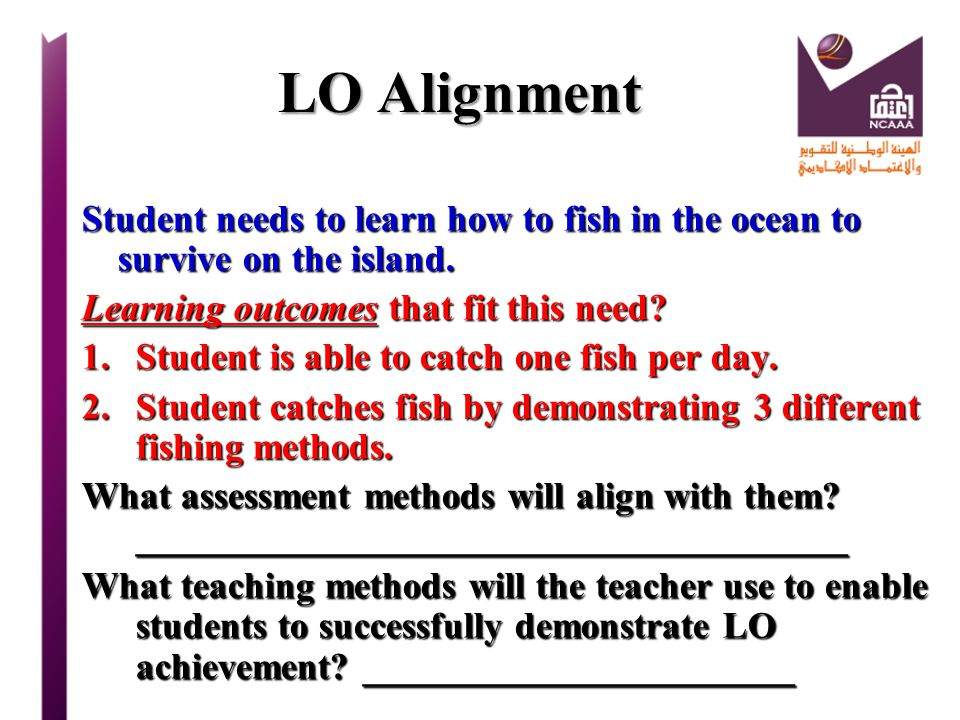 LO Alignment Student needs to learn how to fish in the ocean to survive on the island. Learning outcomes that fit this need