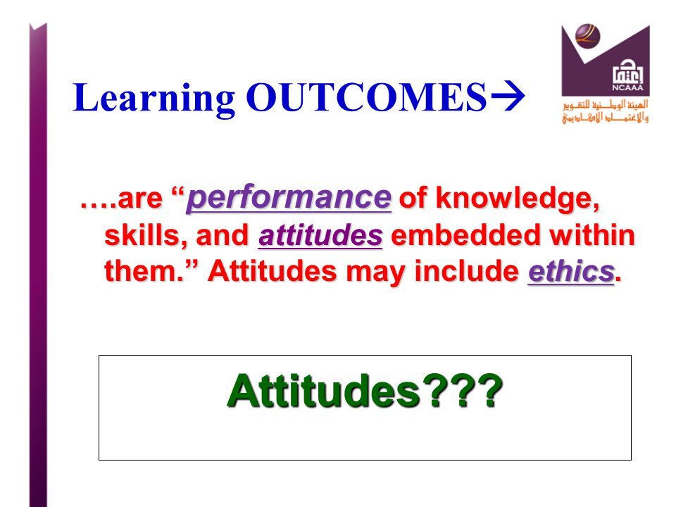 Attitudes Learning OUTCOMES