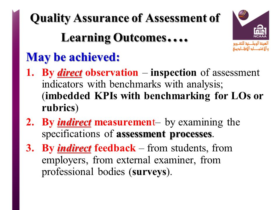 Quality Assurance of Assessment of Learning Outcomes….