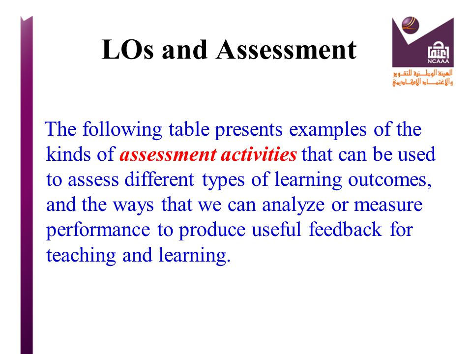 LOs and Assessment