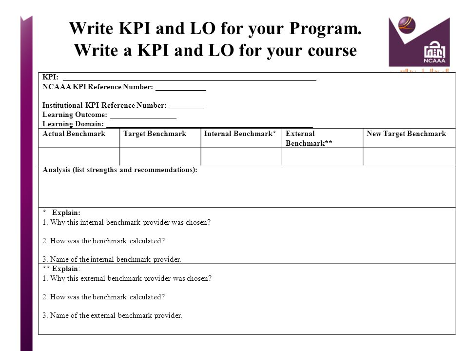 Write KPI and LO for your Program. Write a KPI and LO for your course