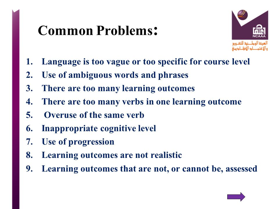 Common Problems: Language is too vague or too specific for course level. Use of ambiguous words and phrases.