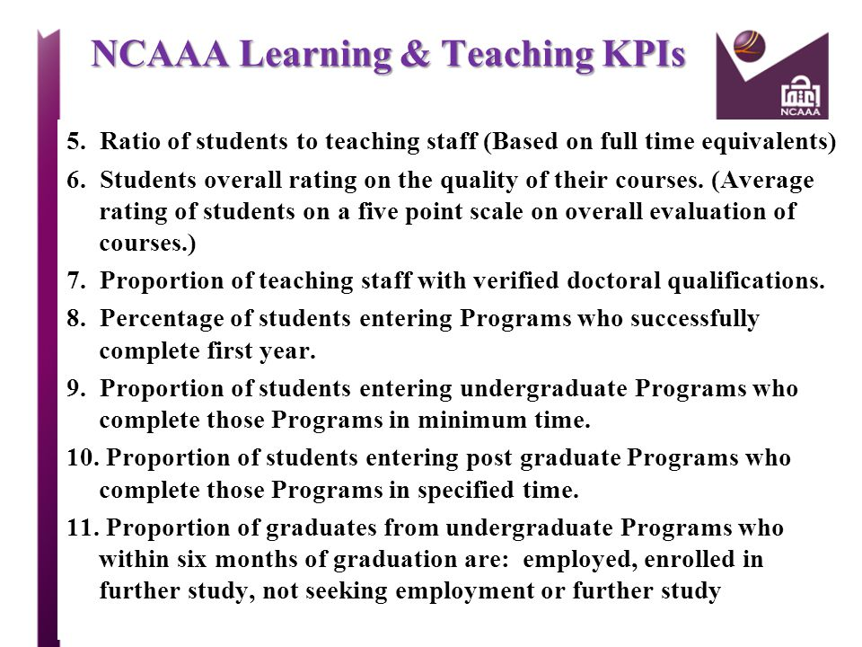 NCAAA Learning & Teaching KPIs