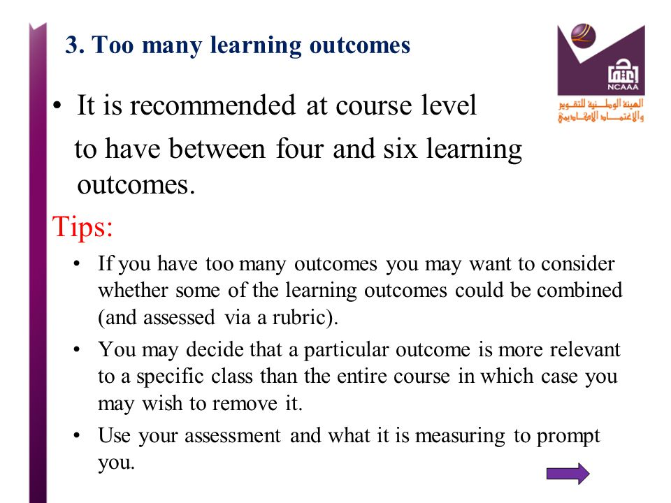 3. Too many learning outcomes