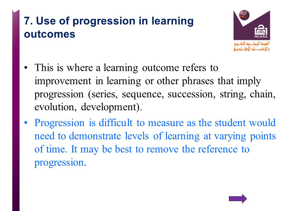 7. Use of progression in learning outcomes