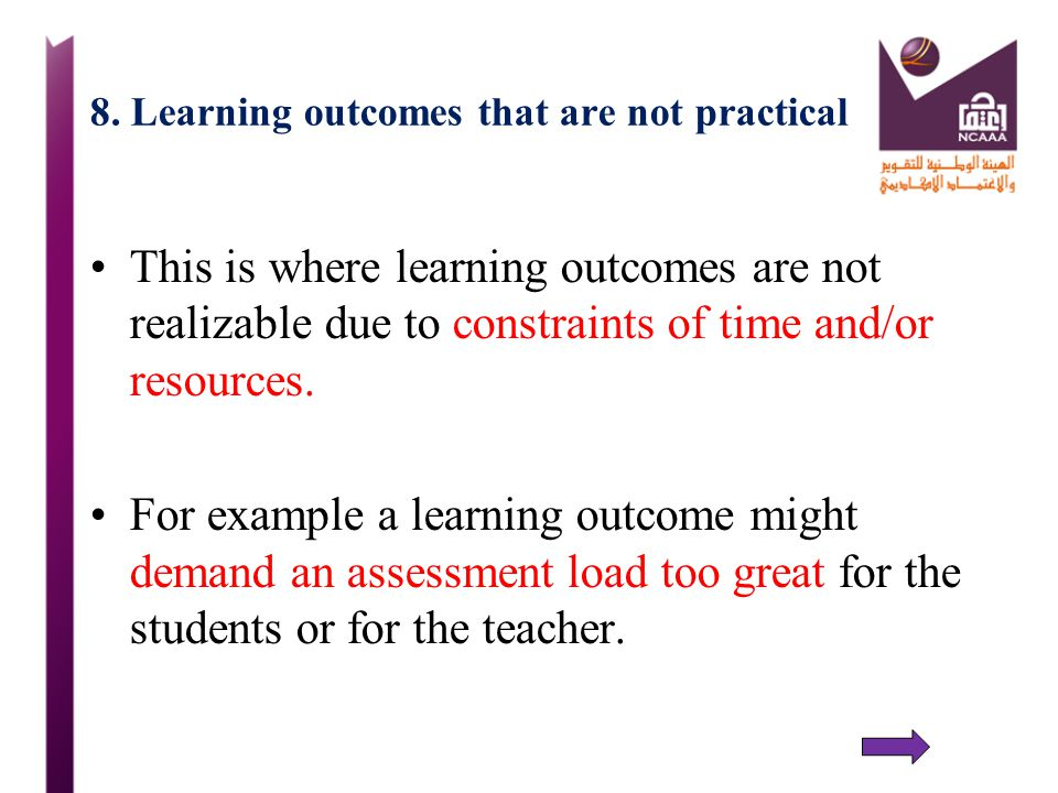 8. Learning outcomes that are not practical