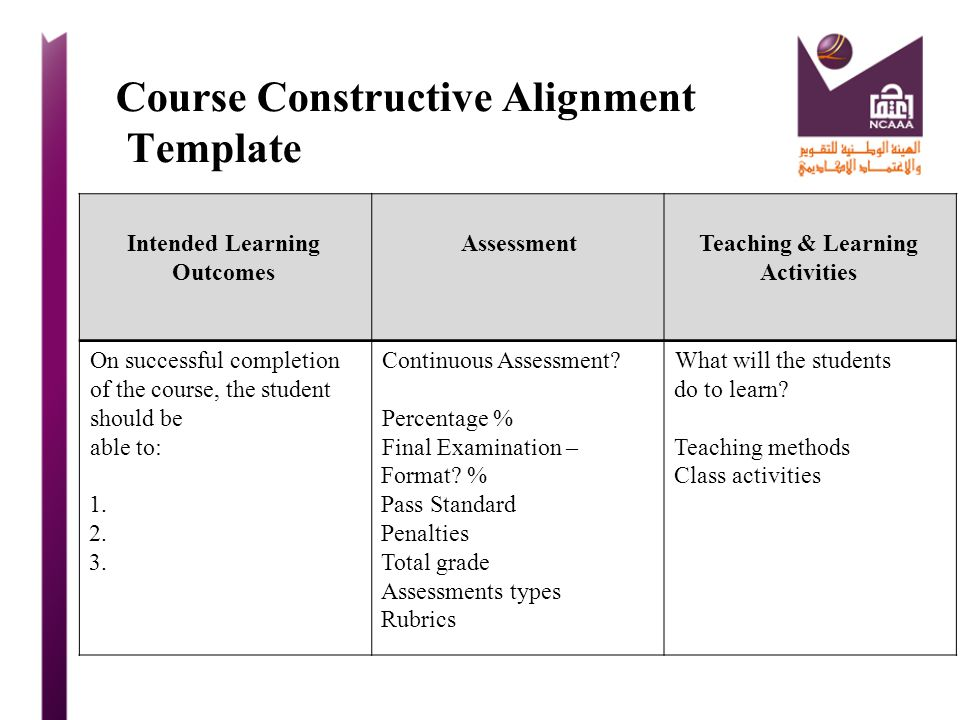 Course Constructive Alignment Template